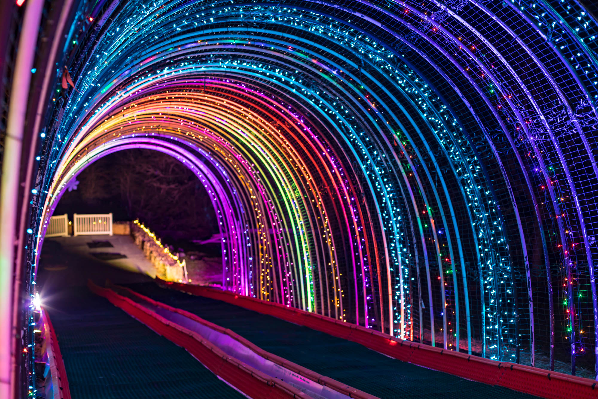 xmas light show tunnel