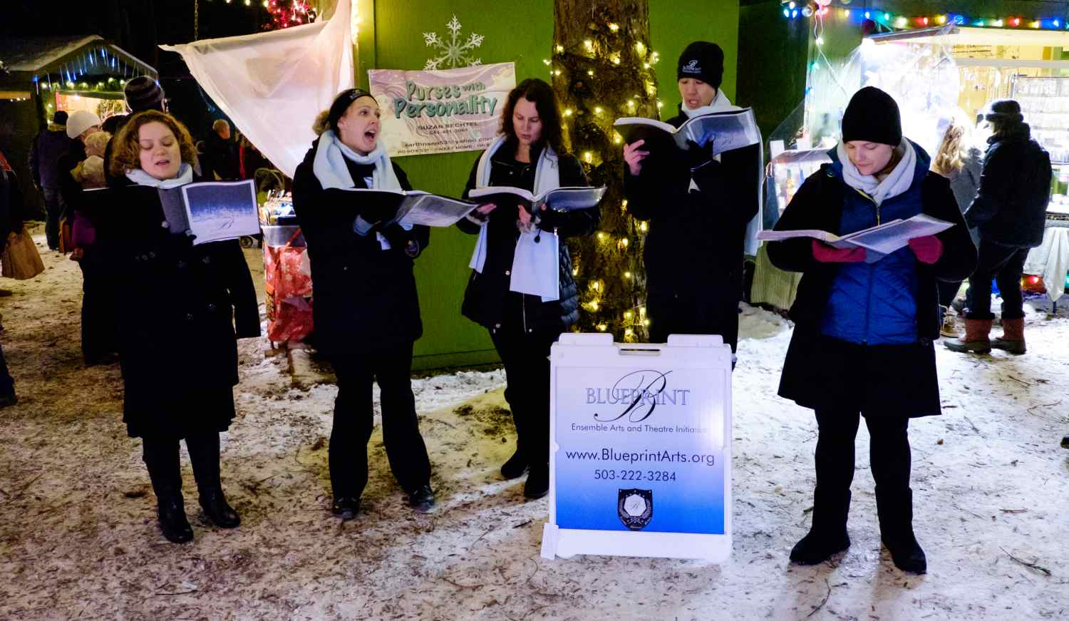 carolers and live music