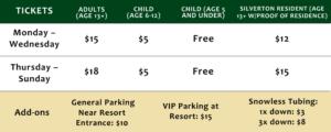 Christmas 2021 pricing table